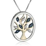 Sterling Silver and 14k Yellow Gold Diamond Tree of Life Necklace